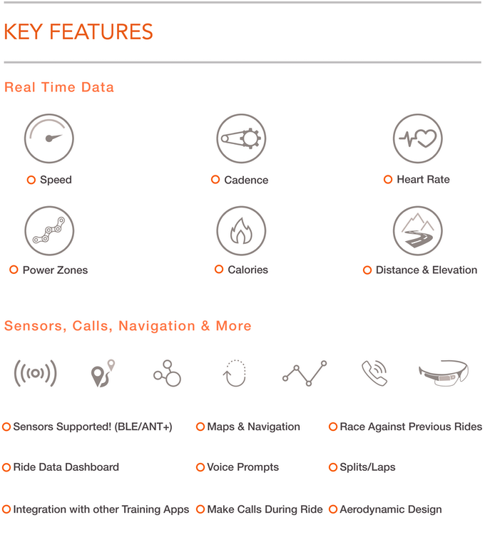 Características de las gafas inteligentes para ciclista, SOLOS